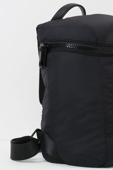 Solid colour backpack with zip, Black, hi-res