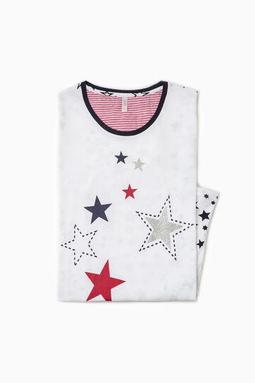 Camicia da notte fantasia stelle, Bianco, hi-res