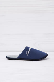 Slippers with embroidered lettering, Navy Blue, hi-res