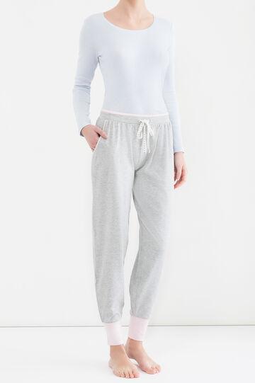 Pantaloni pigiama cotone stretch, Grigio chiaro melange, hi-res