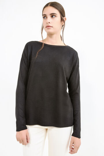 Solid colour boat-neck pullover., Black, hi-res
