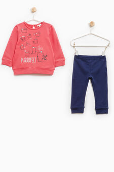 Stretch cotton tracksuit with print, Coral Pink, hi-res