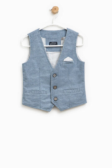 Gilet with small pocket and striped pouch