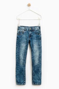 Jeans straight fit effetto maltinto, Lavaggio chiaro, hi-res