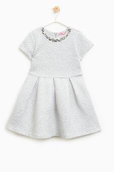 Cotton blend and lurex dress, Grey Marl, hi-res