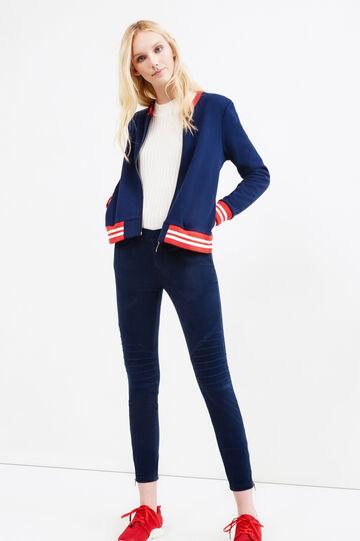 Jeggings cotone stretch con zip, Blu navy, hi-res