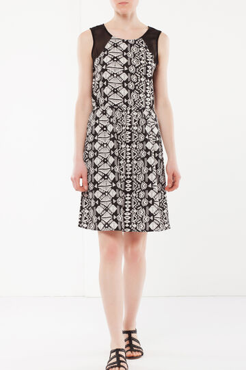 Dress with chiffon details, White/Black, hi-res