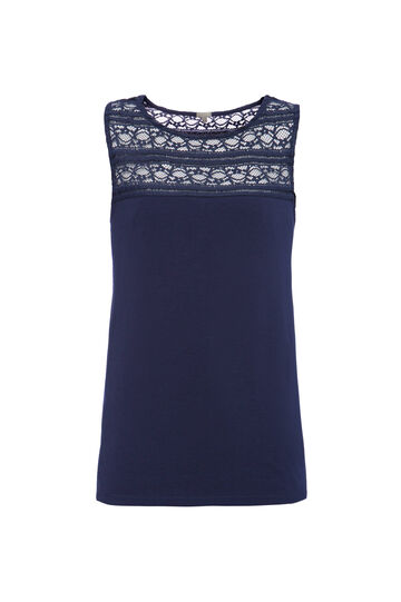 Smart Basic cotton top with lace, Navy Blue, hi-res