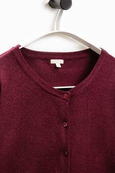 Smart Basic solid colour cardigan, Aubergine, hi-res