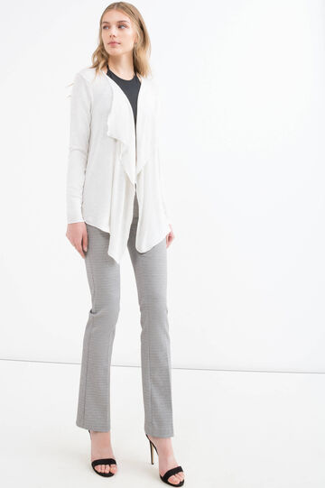 Stretch viscose and lurex cardigan, White, hi-res