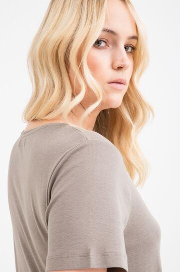 T-shirt cotone con strass Curvy, Marrone ecru, hi-res