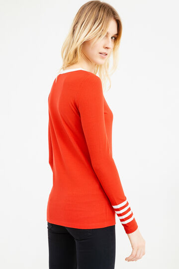 Stretch ribbed T-shirt, Red, hi-res