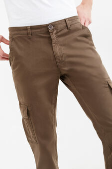 Solid colour  stretch cotton chino trousers, Dark Green, hi-res
