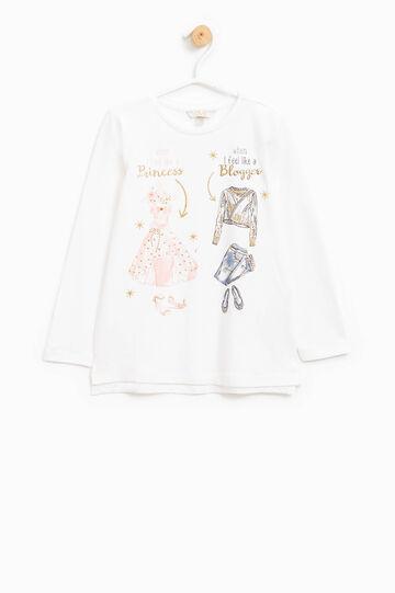Camiseta estampada con purpurina y strass, Blanco leche, hi-res