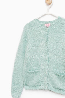 Fur cardigan with pockets, Aquamarine Blue, hi-res