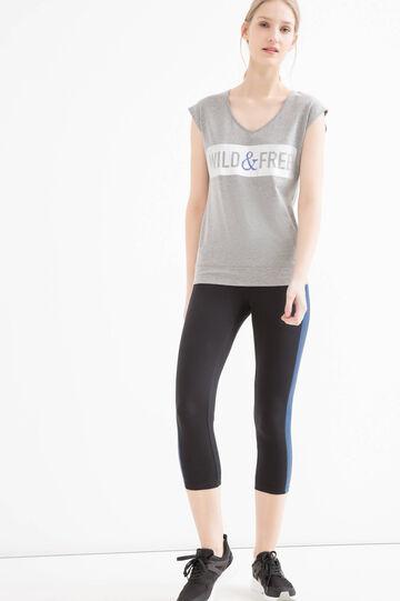 T-shirt sportiva con inserto rete, Grigio melange, hi-res