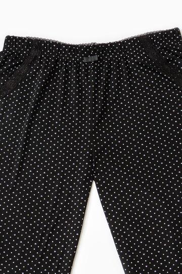 Pyjama trousers with polka dot print, Black, hi-res
