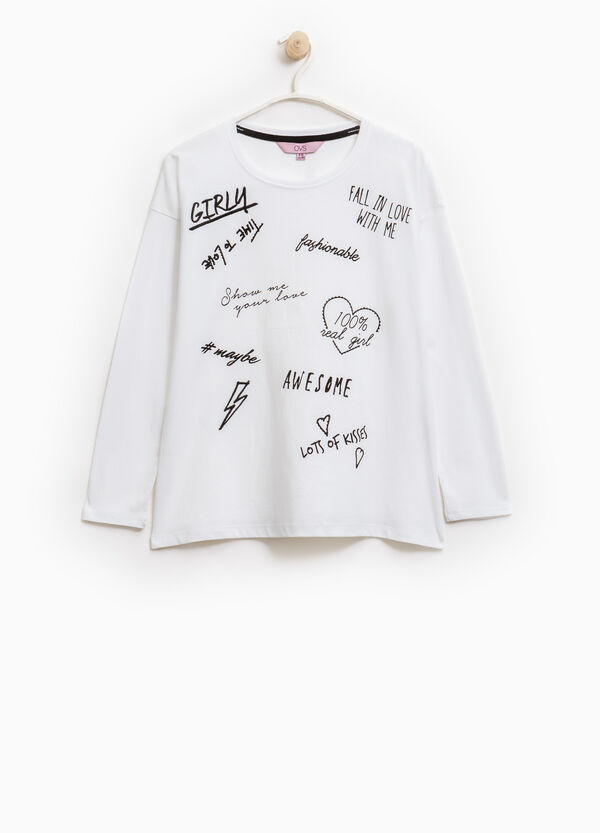 Printed diamanté T-shirt in cotton | OVS
