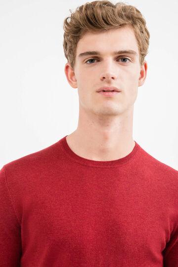 Jersey en mezcla de cachemira con cuello redondo, Rojo teja, hi-res