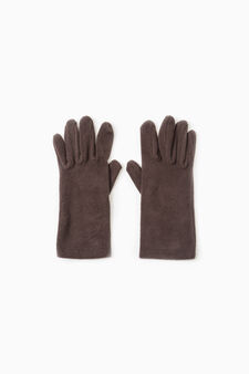 Long solid colour fleece gloves, Brown, hi-res