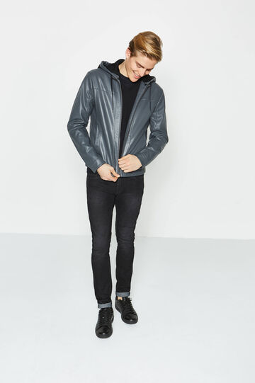 Leather look jacket with hood
