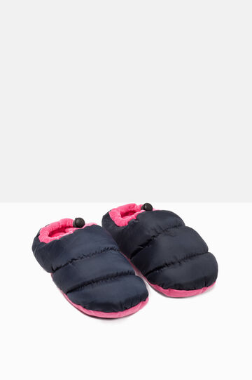 Padded slippers with patterned sole, Navy Blue, hi-res