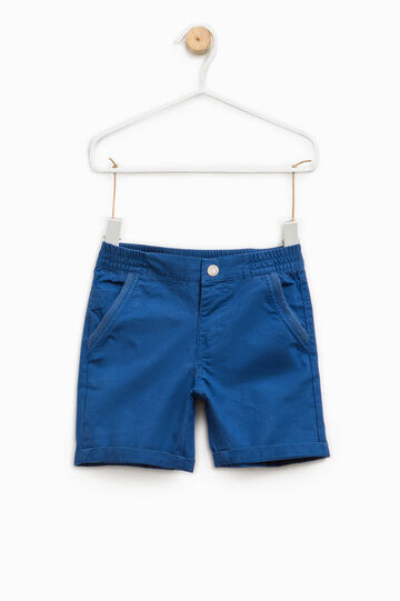 Cotton Bermuda shorts with turn-up, Dark Blue, hi-res