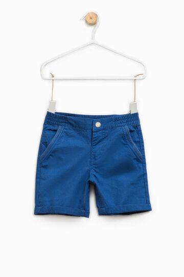 Bermudas de algodón con dobladillo vuelto, Azul oscuro, hi-res