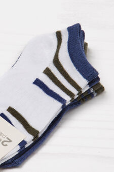 Two-pack short patterned socks, White/Blue, hi-res