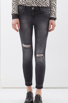Stretch Capri jeans, Black, hi-res