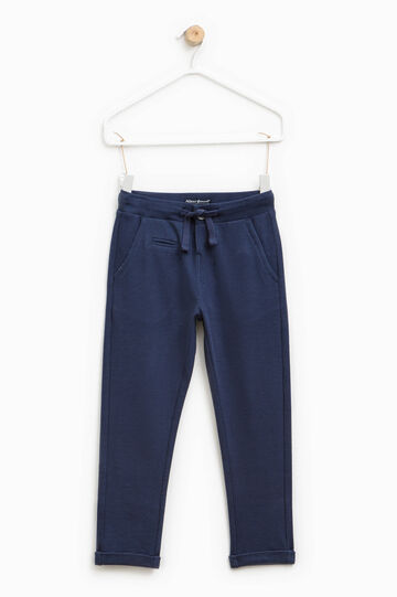 Piquet trousers with drawstring, Blue, hi-res