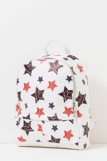 Star patterned backpack, White, hi-res