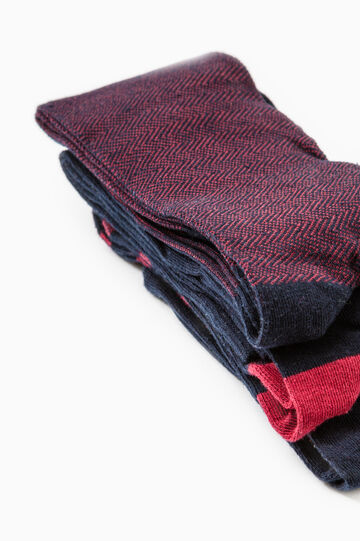 Three-pair pack solid colour and patterned long socks, Claret Red, hi-res