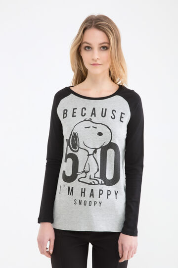 100% cotton T-shirt with Snoopy print, Black/Grey, hi-res