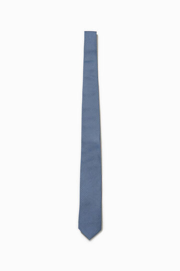 Micro check 100% silk tie, Blue, hi-res