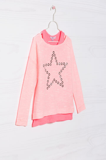 Cotton pullover and top set, Fuchsia, hi-res