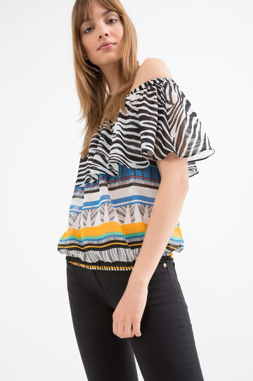 Blusa con scollo a barchetta, Multicolor, hi-res