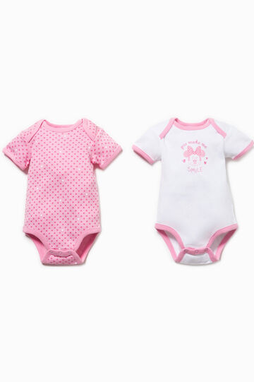 Two-pack hearts bodysuit with Minnie Mouse print