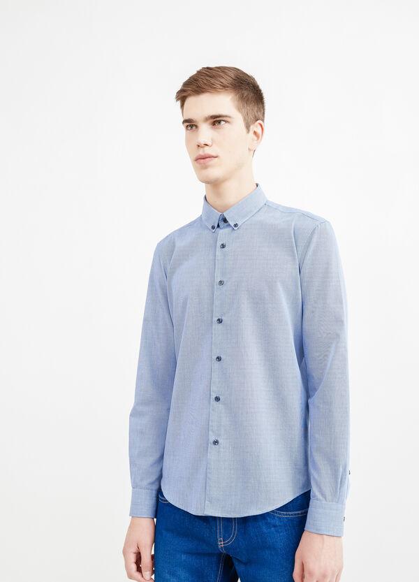 Camicia casual cotone micro quadri | OVS
