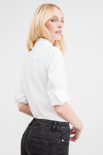Stretch cotton shirt with bluff collar, White, hi-res