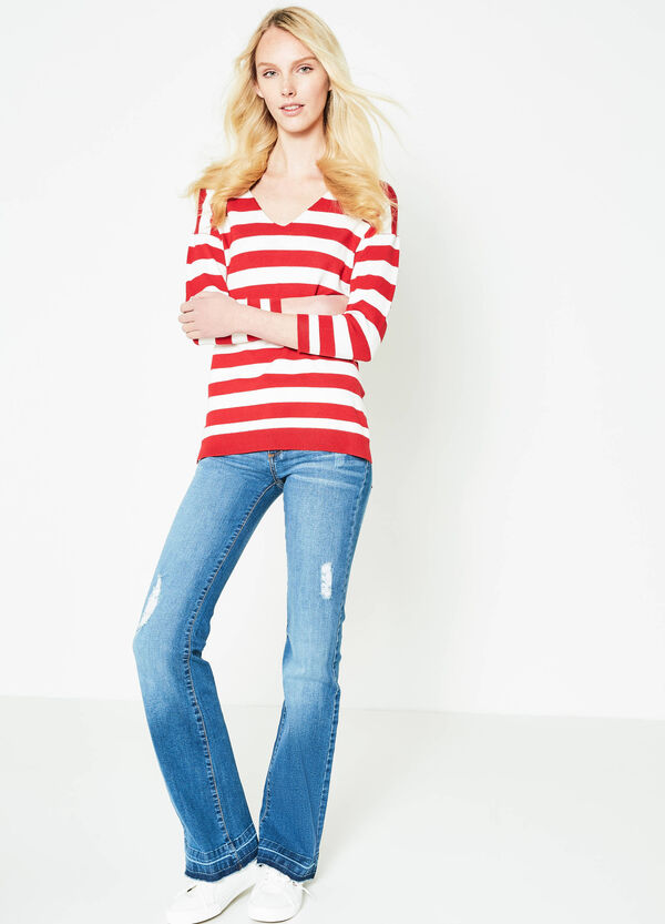 Pullover in viscose blend with striped pattern | OVS