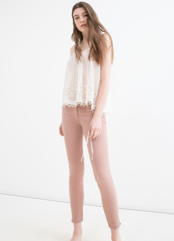 Pantaloni cotone stretch zip | OVS