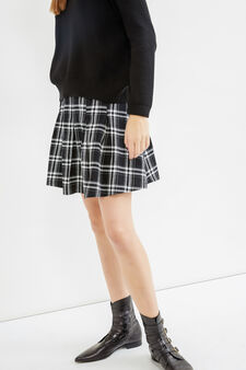 Check patterned skirt in 100% cotton, Black/White, hi-res
