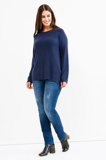 Curvy pullover with diamond-shaped quilting, Dark Blue, hi-res