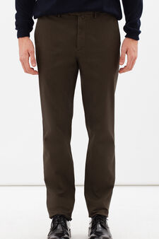 Rumford stretch cotton trousers with zip, Forest Green, hi-res
