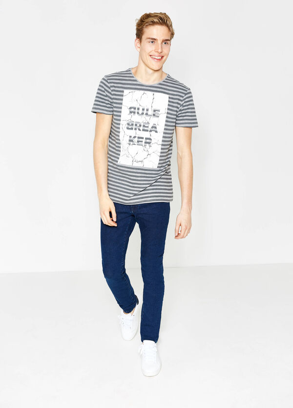 Striped 100% cotton T-shirt with print | OVS