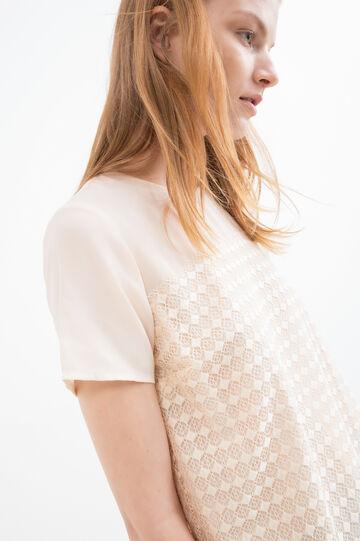 Solid colour crew neck blouse, Ecru, hi-res