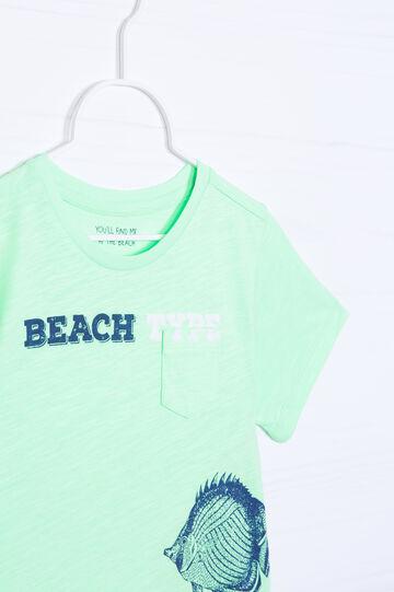 T-shirt cotone con stampa, Verde fluo, hi-res