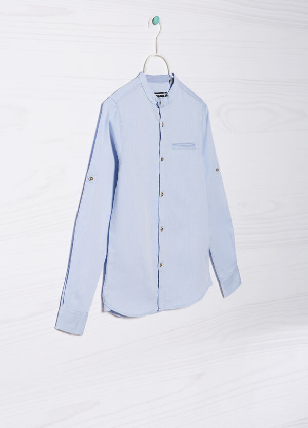 Cotton shirt with mandarin collar. | OVS