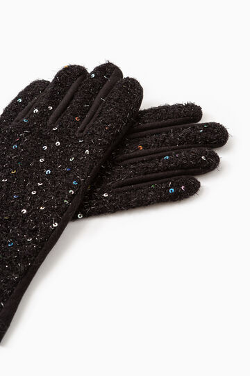 Gloves with sequins and lurex, Black, hi-res